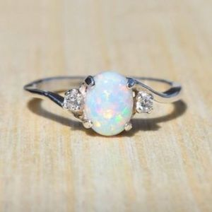 Sterling silver Opal & CZ accent Ring
